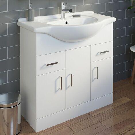 850mm Bathroom Vanity Unit & Basin Tap + Waste Gloss White Modern