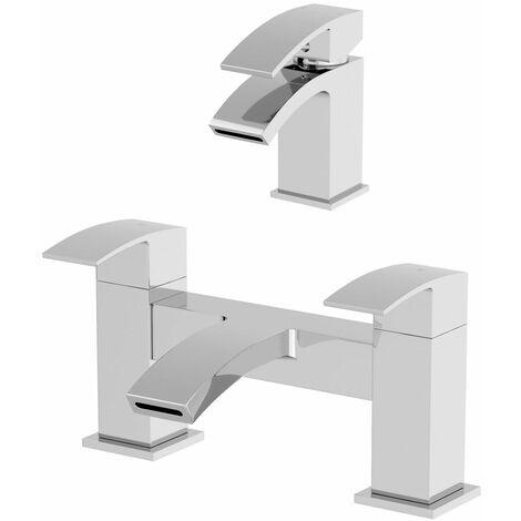 Modern Bathroom Mono Basin Sink Bath Mixer Filler Tap Set Chrome