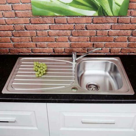 Inset Stainless Steel Sink Single Bowl And Drainer With Free Waste