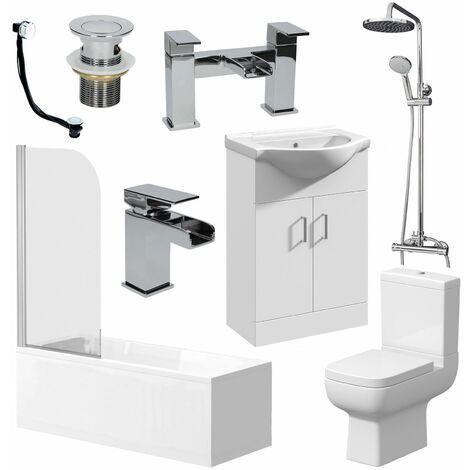 Complete Bathroom Suite 1700mm Bath Toilet Basin Shower Screen
