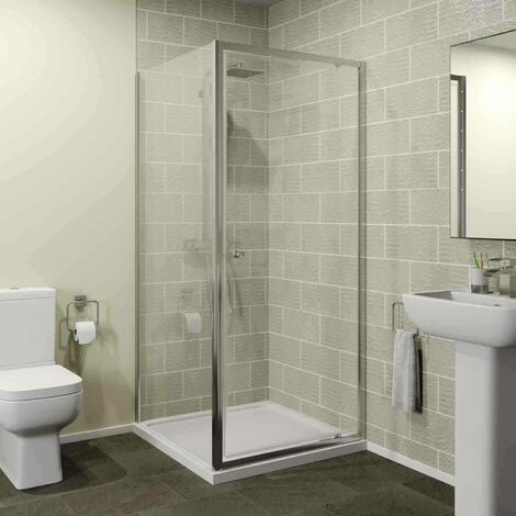 900mm x 900mm Pivot Shower Door Side Panel Enclosure 4mm Glass Screen Framed