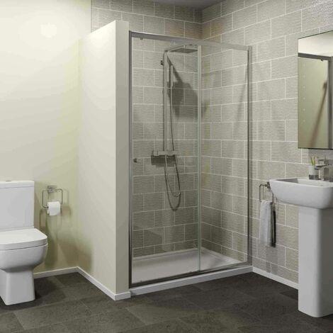 1200 x 760mm Sliding Shower Door Enclosure 4mm Glass Panel Framed Tray & Waste