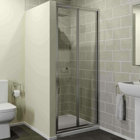 760 x 760mm Bi Fold Shower Door Enclosure Glass Screen 4mm Framed Acrylic Tray