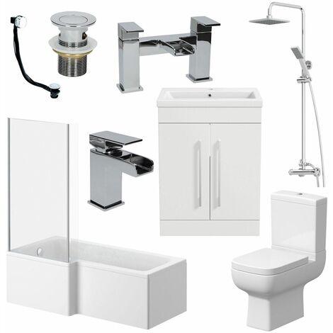 Complete Bathroom Suite L Shaped LH Bath Toilet Basin Taps Vanity Unit Shower