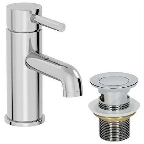 Modern Bathroom Mono Basin Mixer Tap Single Lever Chrome Waste