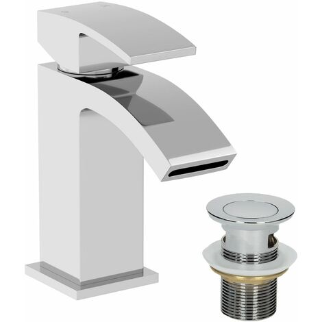 Modern Mono Basin Mixer Tap Slotted Waste Chrome Cloakroom
