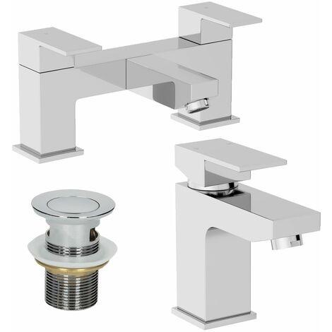 Modern Bathroom Square Mono Basin Mixer Bath Filler Tap Set Waste