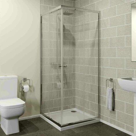 800 x 800mm Corner Entry Shower Enclosure Sliding Door 4mm Cubicle Acrylic Tray