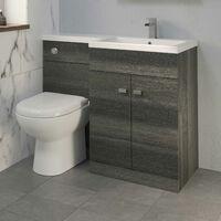 1100mm Bathroom Vanity Unit Basin & Toilet Combined Unit RH Grey