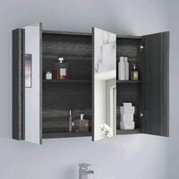 900mm Bathroom Mirror Cabinet Three Door Cupboard Wall Mounted Grey