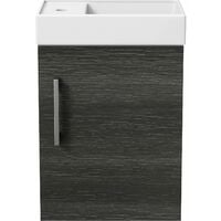 Bathroom Basin Sink Vanity Unit Wall Hung 400mm Modern Charcoal Grey