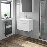 600mm Bathroom Basin Sink Vanity Unit Wall Hung Cabinet Gloss White