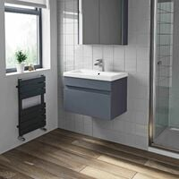 600mm Bathroom Vanity Unit Basin Wall Hung Cabinet Unit Gloss Grey