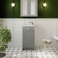 400mm Bathroom Vanity Unit Basin Sink Cabinet Unit Grey Traditional