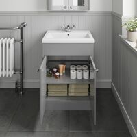 600mm Bathroom Vanity Unit Basin Cabinet Unit Grey Traditional