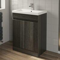600mm Bathroom Vanity Unit Basin 2 Door Cabinet Unit Charcoal Grey