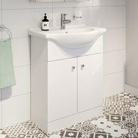Bathroom Basin Vanity Unit Floor Standing 650mm Matte White