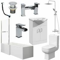 Bathroom Suite L Shaped Bath LH Screen Toilet Basin Vanity Unit Shower Taps Set