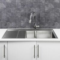Säuber Kitchen Sink 1.5 Bowl LH Drainer Stainless Steel Square Inset Waste