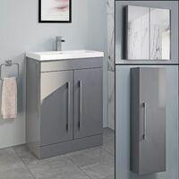 Basin Vanity Unit Mirror Cabinet Tall Cupboard Bathroom Bundle Grey Gloss