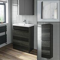 Basin Vanity Unit Mirror Cabinet Tall Cupboard Charcoal Bathroom Bundle