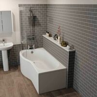 Bathroom Suite Vanity Unit Basin P Shape Bath Close Coupled Toilet White LH