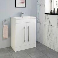 Bathroom Suite Vanity Unit Basin P Shape Bath Close Coupled Toilet White RH