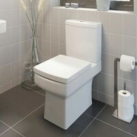 Bathroom Suite Vanity Unit P Shape Bath And Square Toilet Gloss Grey RH