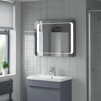 Bathroom Mirror Wall LED Light Demister Modern Mains Power Infrared IP44 600x800