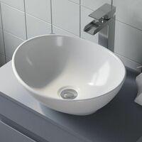 Bathroom Vanity Wash Basin Sink Countertop Oval Curved White Modern 410 x 330mm