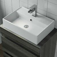 600mm Bathroom Vanity Unit Countertop Rectangular Basin Charcoal Grey