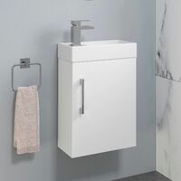 400mm Bathroom Basin Sink Vanity Unit Wall Hung White Round Mixer Tap FREE Waste