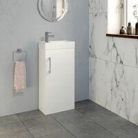 400mm Bathroom Basin Sink Vanity Unit Furniture 1TH Round Mixer Tap FREE Waste