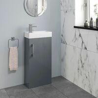 400mm Bathroom Basin Vanity Unit Furniture Grey Waterfall Mixer Tap FREE Waste