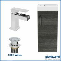 400mm Bathroom Basin Vanity Unit Furniture Charcoal Waterfall Tap FREE Waste