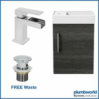 400mm Bathroom Basin Vanity Unit Wall Hung Charcoal Waterfall Tap FREE Waste