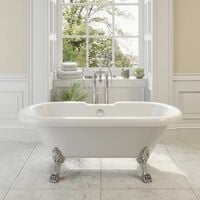 Traditional 1700mm Freestanding Bath Double Ended Roll Top Legs Included White