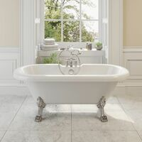 Traditional 1500 Freestanding Bath Double Ended Roll Top Legs Included White