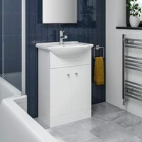 Bathroom Basin Vanity Unit Floor Standing 550mm Matte White