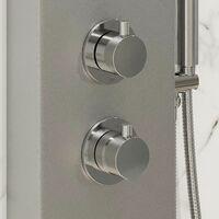 Thermostatic Shower Panel Column Tower Body Jets Twin Head Aluminium