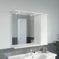 850mm Modern Bathroom Mirror Cabinet Illuminated White Gloss Shelf Wall Hung