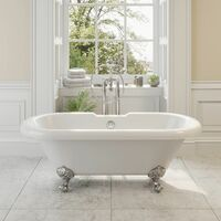 Freestanding Traditional 1500mm Double Ended Roll Top Bath Legs Included White