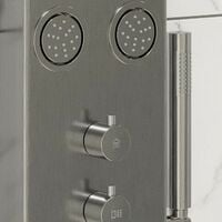 Thermostatic Brushed Steel Finished Shower Tower Panel 4 Body Jets 2 Twin Heads
