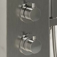 Thermostatic Shower Panel Column Tower With Body Jets Twin Head Bathroom Silver
