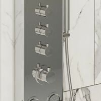 Modern Thermostatic Bathroom Shower Tower Panel 4 Body Jets Polished Finish