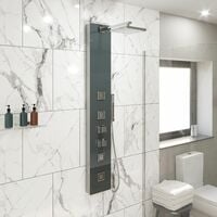 Thermostatic Modern Shower Tower Panel Glass Finish Body Jets Twin Heads Handset