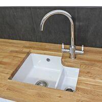 RReginox Tuscany Kitchen Sink LH Large 1.5 Bowl White Ceramic Undermount Waste