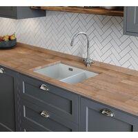 Rangemaster Rustique Kitchen Sink 1.5 Bowl Left Hand Ceramic White FREE Waste