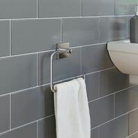 Bathroom Towel Ring Holder Chrome Square Wall Mounted Stylish Modern