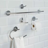 Bathroom Set Towel Ring Toilet Roll Holder Chrome Round Wall Mounted Traditional
